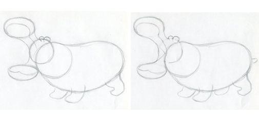 рисуем бегемота поэтапно карандашом