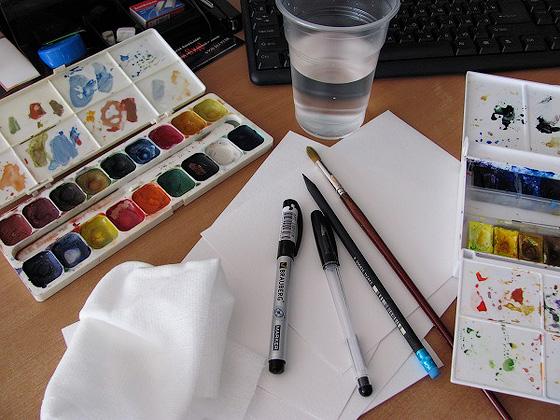 Инструменты для рисования заката