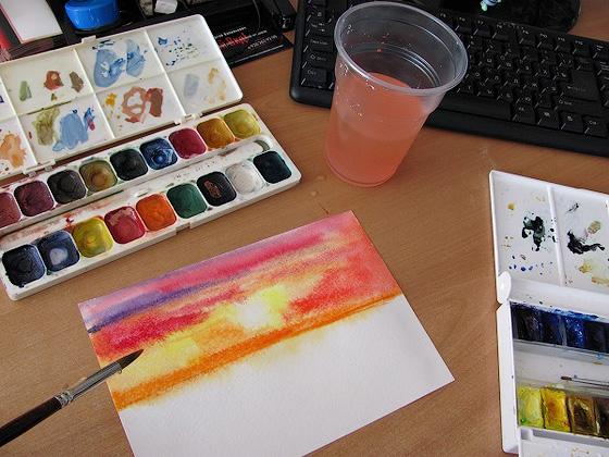 как нарисовать закат акварелью