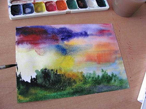 как рисовать рассвет