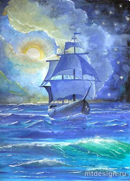 море рисунок поэтапно в корабль