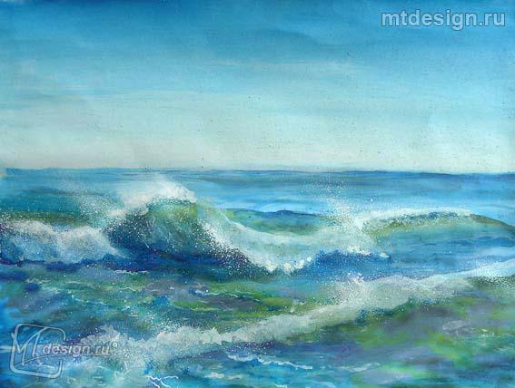 Рисовать море поэтапно красками