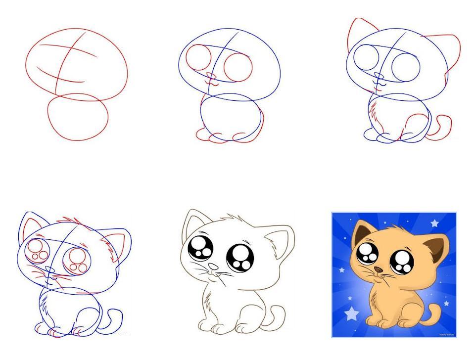 Рисуем карандашом мультяшных котят