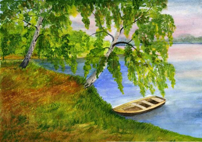 Нарисовать лето пейзаж поэтапно