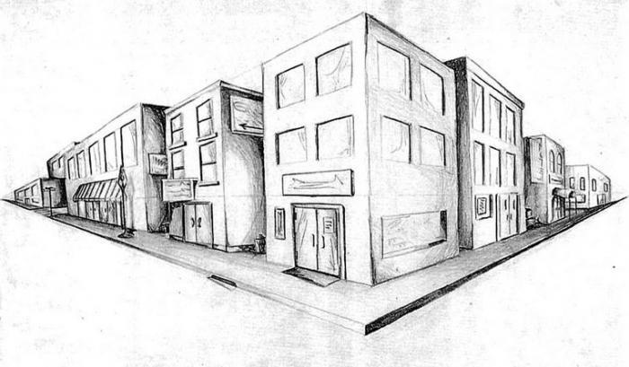 рисунки карандашом улица и дома