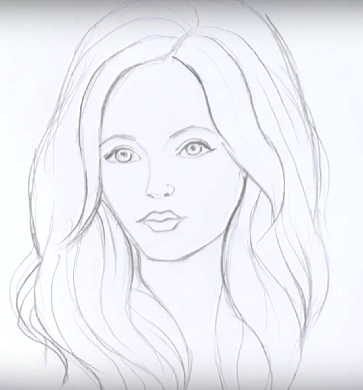 Рисунок карандашом девушки с длинными волосами