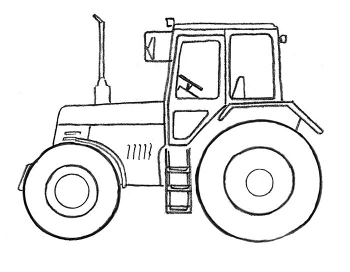 раскраска трактор с ковшом онлайн