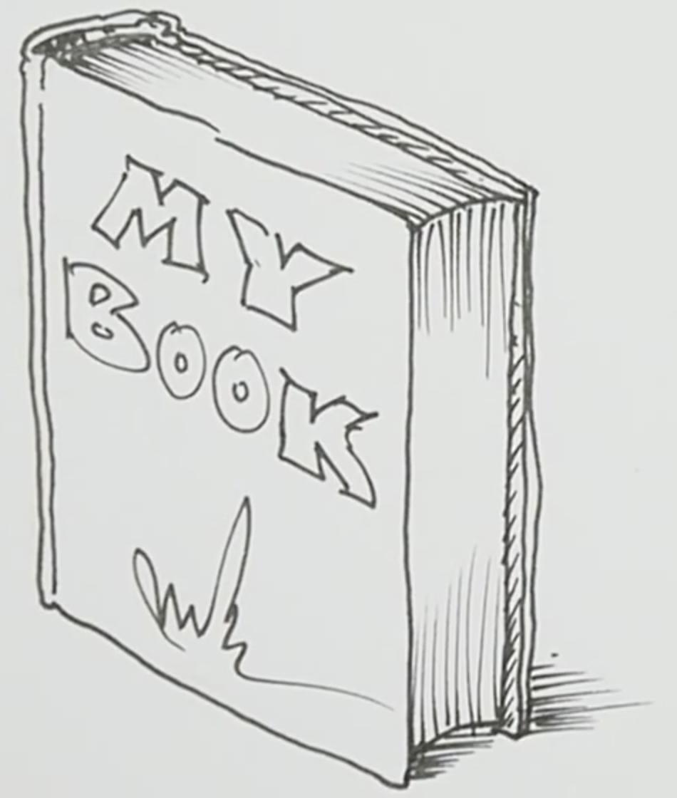 полке карандашом книги на рисунок