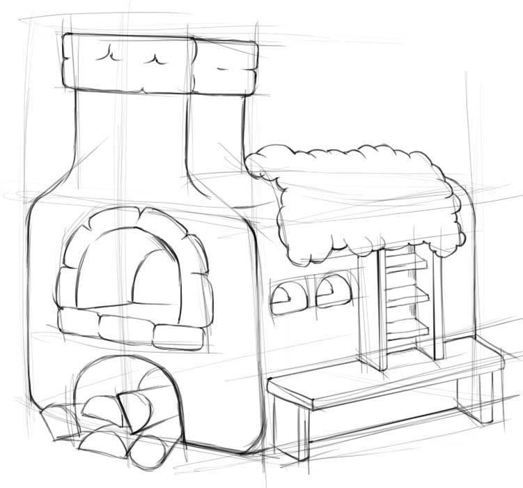 Печка рисунок поэтапно