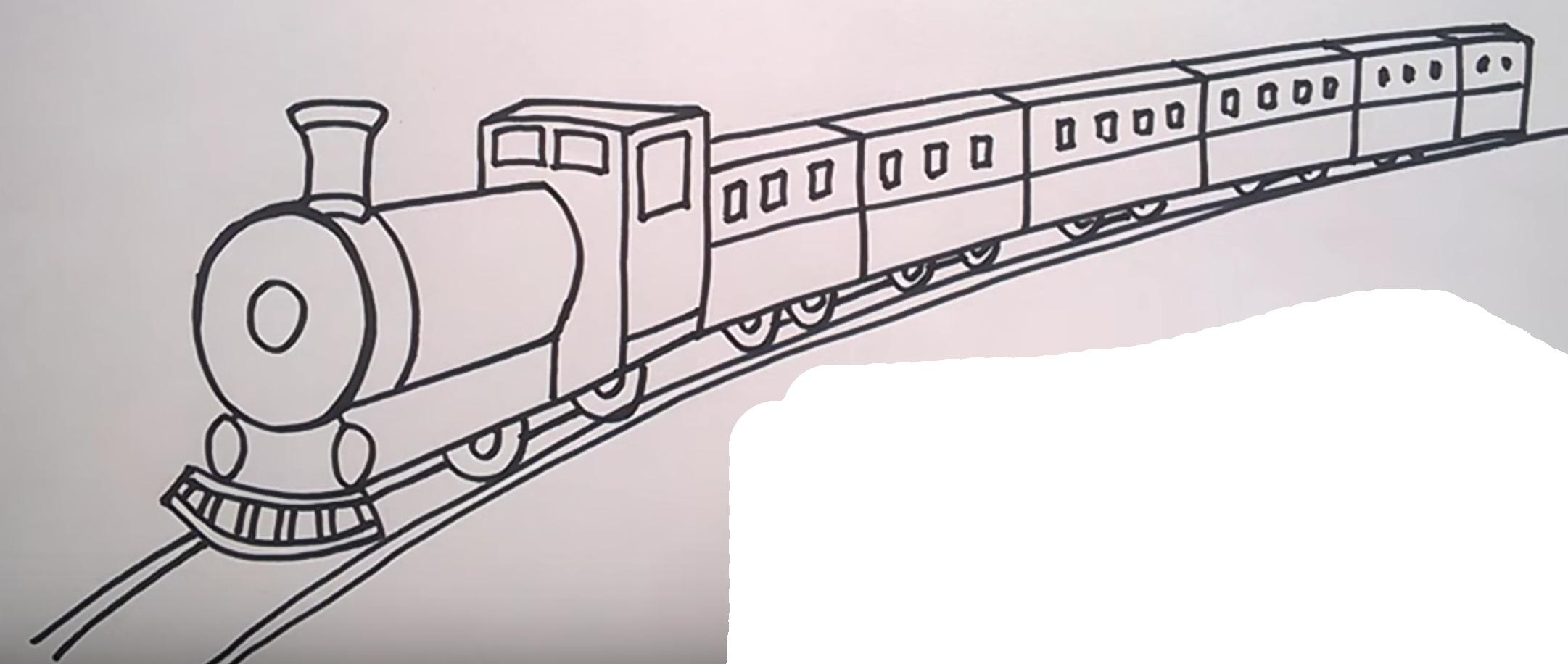 Как рисовать поезда поэтапно