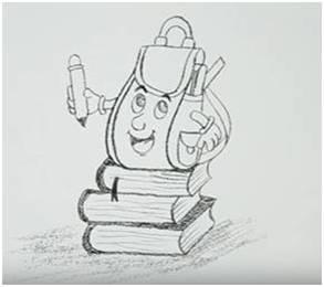 c36d1c99e173 Предлагаемый ниже способ как нарисовать школьный рюкзак позволит научиться  изображать симпатичный, и в то же время несложный вариант сумки школьника.