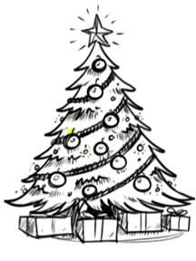 Как красиво нарисовать елку с подарками