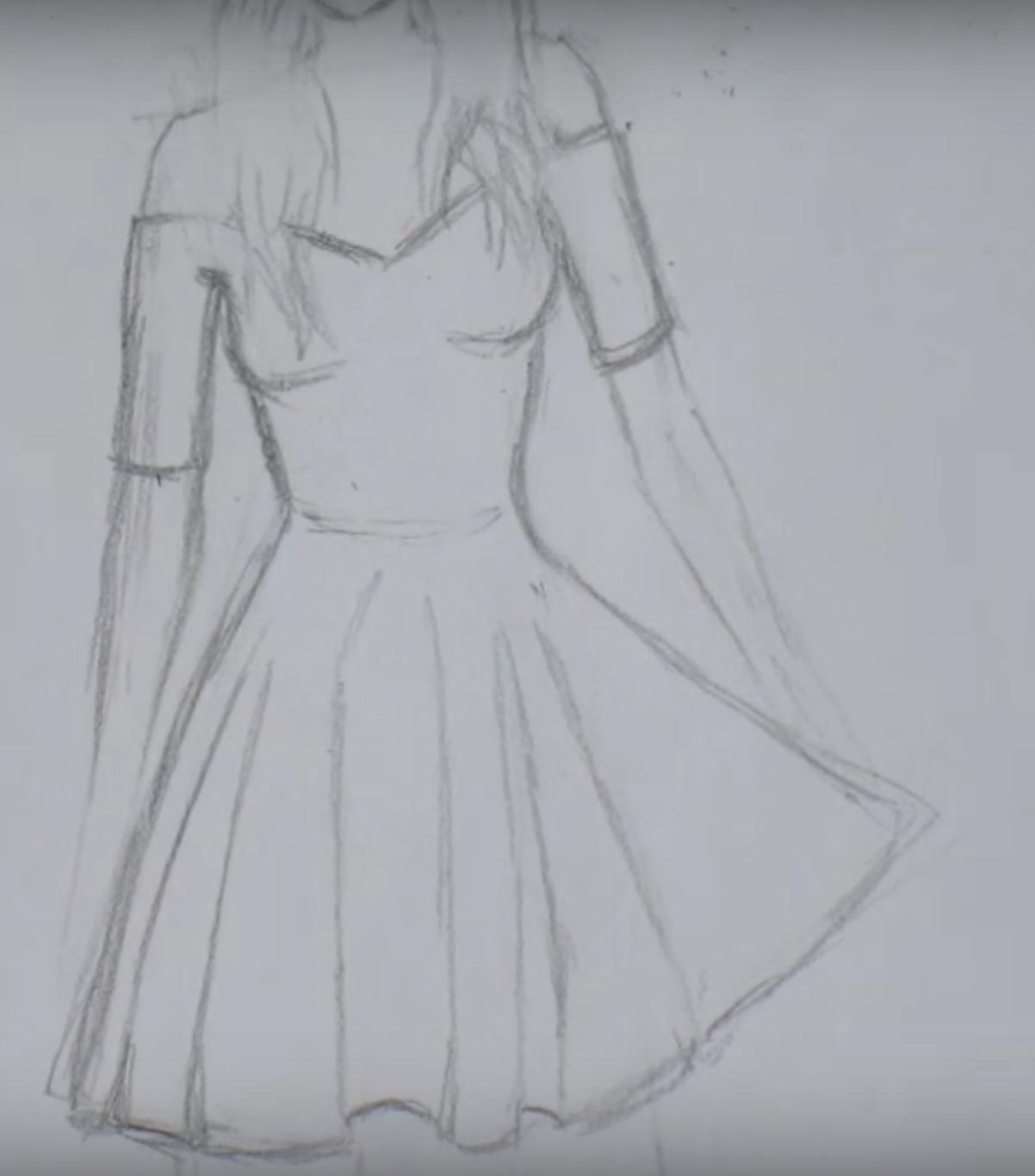 4174bd713d9 Как нарисовать девушку в платье