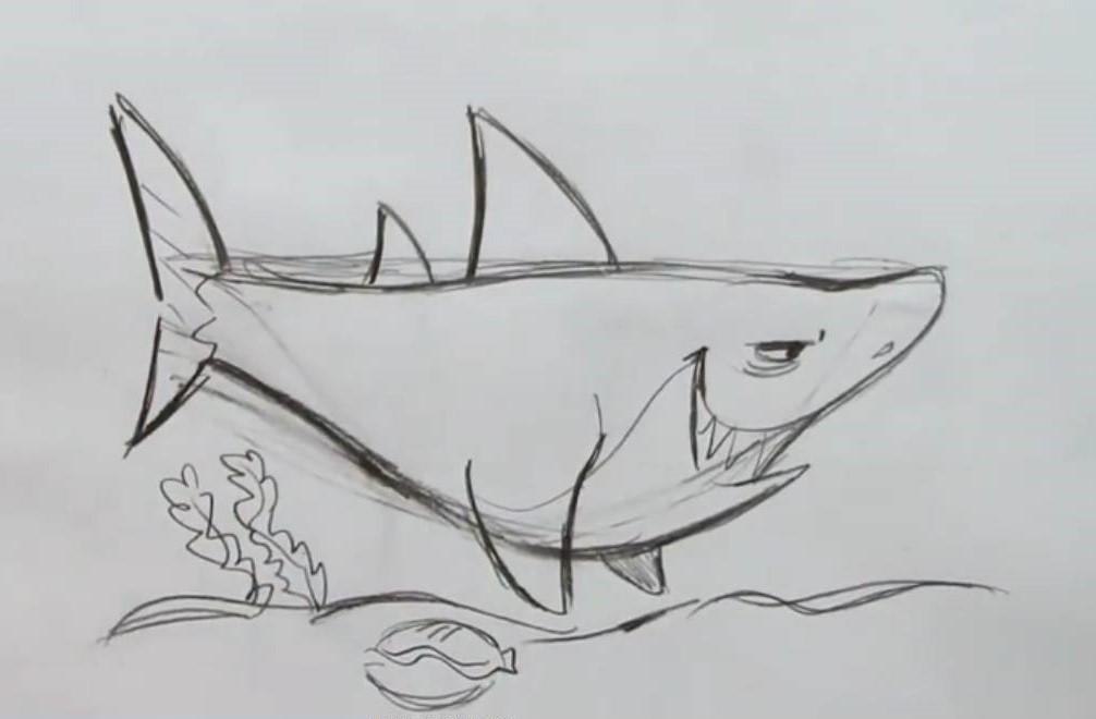 Нарисовать акулу карандашом ребенку