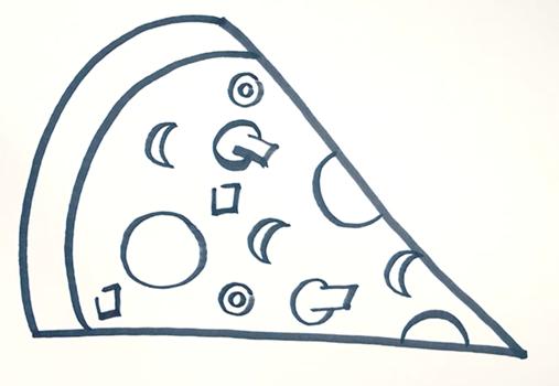 Как нарисовать пиццу и ее кусочек