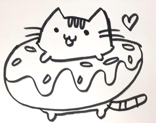 Раскраски котики в пончиках
