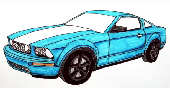 как нарисовать ford mustang gt 500 карандашом