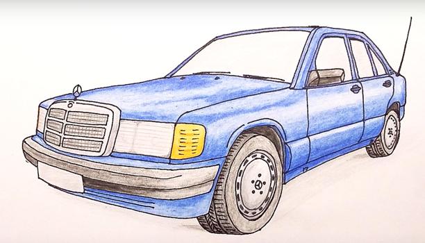 как нарисовать карандашом мерседес
