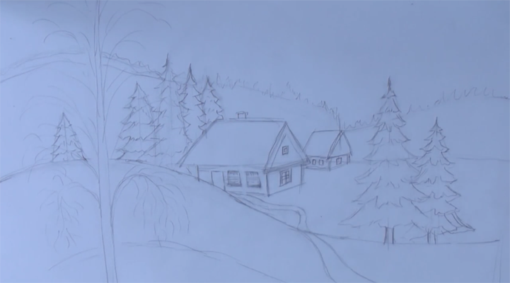 Рисуем пейзажи зимние поэтапно 22